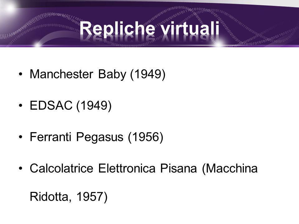 Manchester Baby (1949) EDSAC (1949) Ferranti Pegasus (1956) Calcolatrice Elettronica Pisana (Macchina Ridotta, 1957)