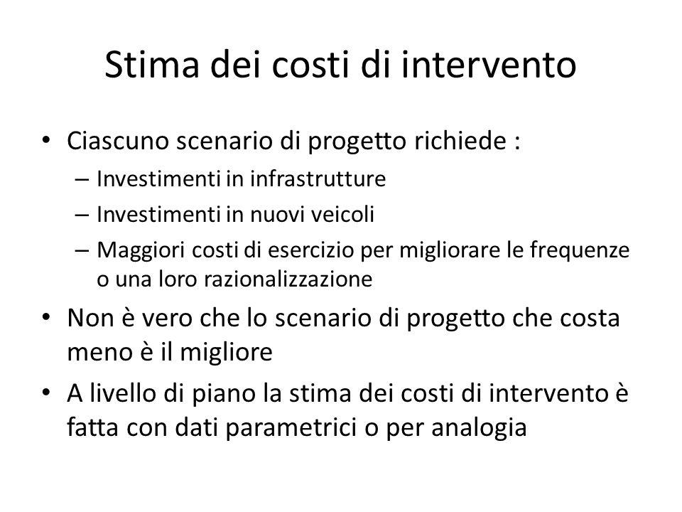 Stima dei costi di intervento Ciascuno scenario di progetto richiede : – Investimenti in infrastrutture – Investimenti in nuovi veicoli – Maggiori cos