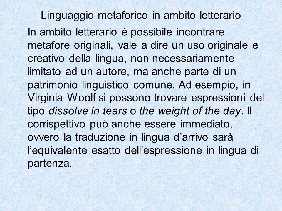 Linguaggio metaforico in ambito letterario In ambito letterario è possibile incontrare metafore originali, vale a dire un uso originale e creativo del