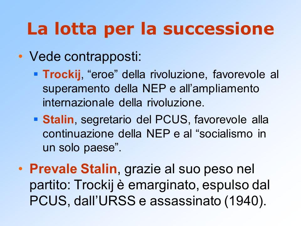 """La lotta per la successione Vede contrapposti:  Trockij, """"eroe"""" della rivoluzione, favorevole al superamento della NEP e all'ampliamento internaziona"""