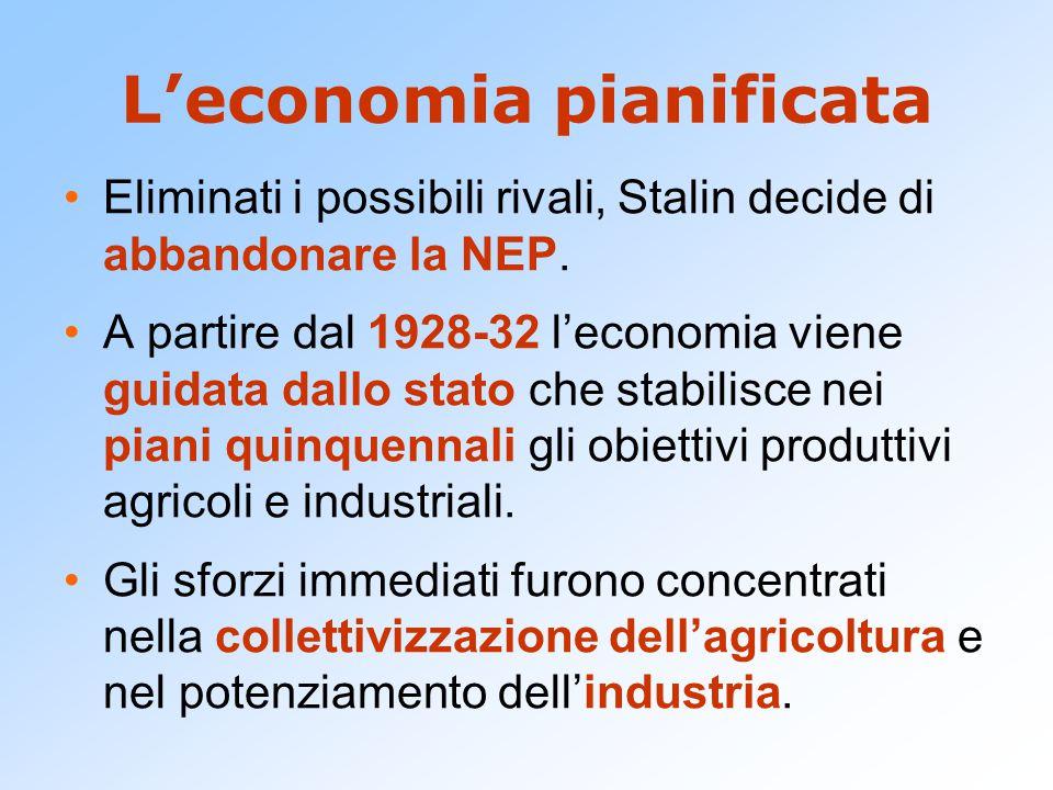 L'economia pianificata Eliminati i possibili rivali, Stalin decide di abbandonare la NEP. A partire dal 1928-32 l'economia viene guidata dallo stato c