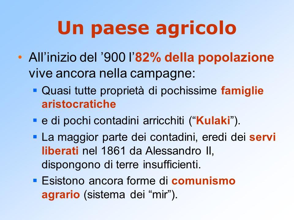 Un paese agricolo All'inizio del '900 l'82% della popolazione vive ancora nella campagne:  Quasi tutte proprietà di pochissime famiglie aristocratich