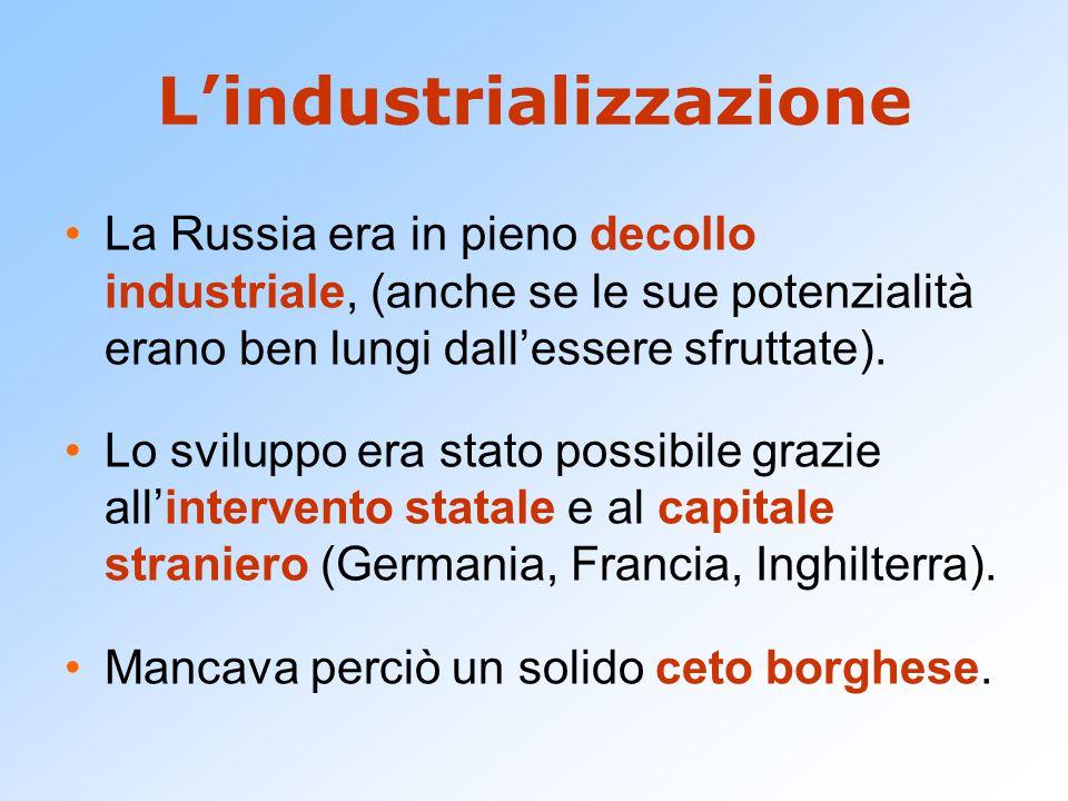 L'industrializzazione La Russia era in pieno decollo industriale, (anche se le sue potenzialità erano ben lungi dall'essere sfruttate). Lo sviluppo er