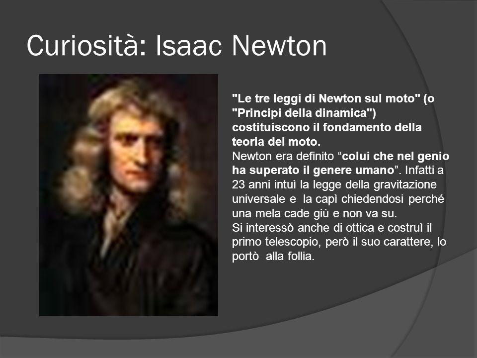 Curiosità:Galileo Galilei Il motto di Galileo Galilei era: a principiare il moto è ben necessario il movente, ma il continuarlo basta il non aver cont