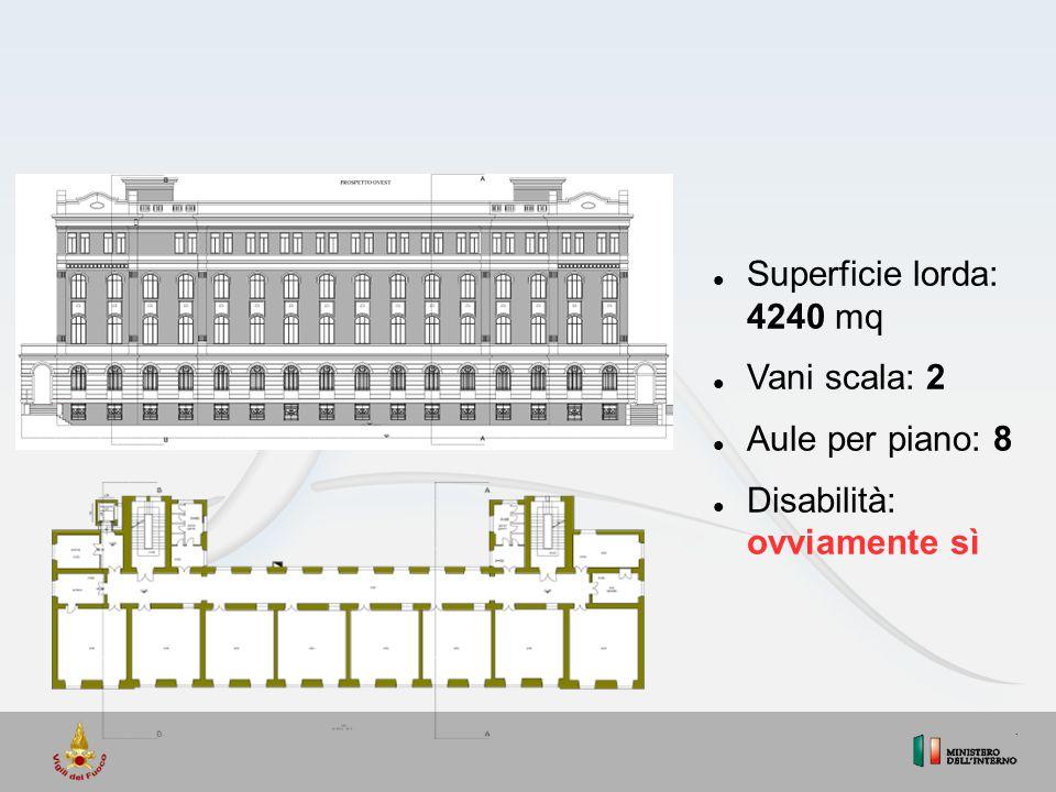Superficie lorda: 4240 mq Vani scala: 2 Aule per piano: 8 Disabilità: ovviamente sì