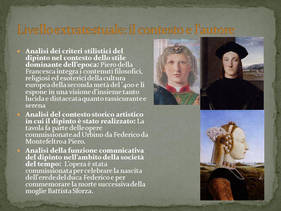 Analisi dei criteri stilistici del dipinto nel contesto dello stile dominante dell'epoca: Piero della Francesca integra i contenuti filosofici, religi
