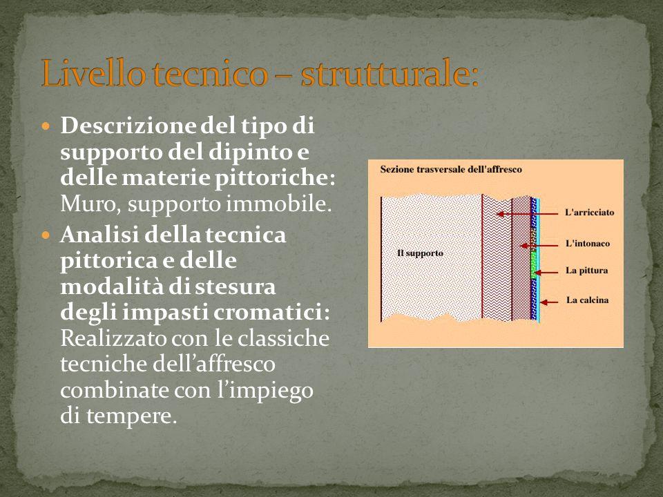 Descrizione del tipo di supporto del dipinto e delle materie pittoriche: Muro, supporto immobile. Analisi della tecnica pittorica e delle modalità di