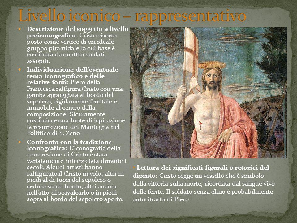 Descrizione del soggetto a livello preiconografico: Cristo risorto posto come vertice di un ideale gruppo piramidale la cui base è costituita da quatt