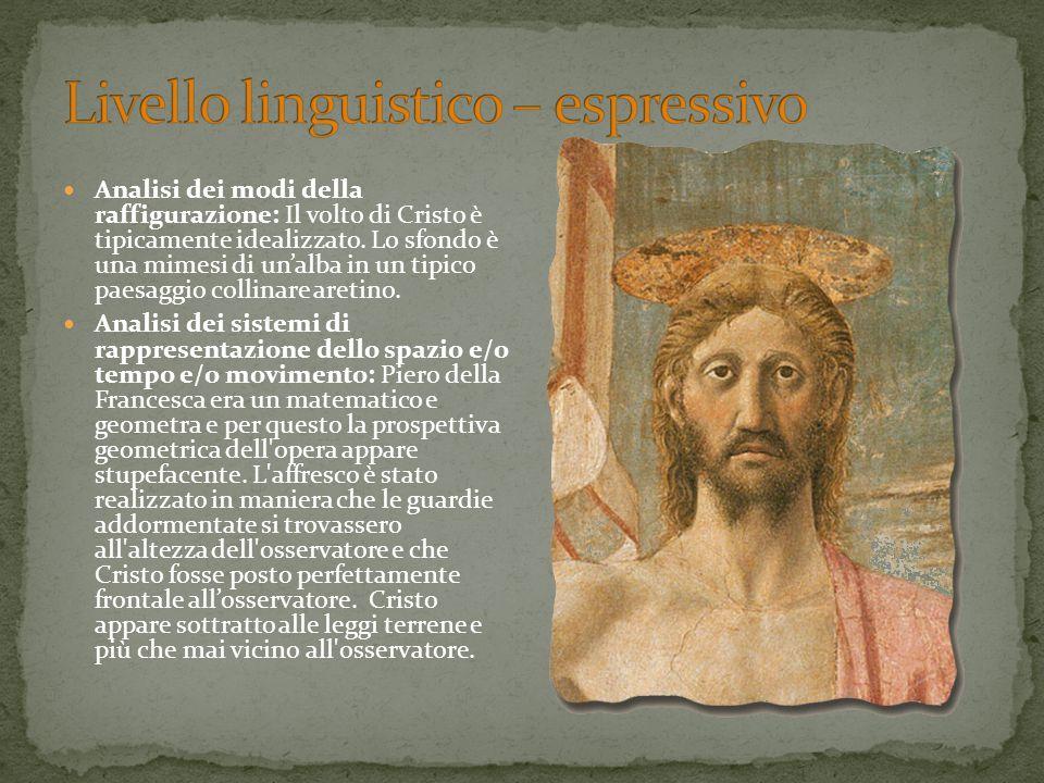 Analisi dei modi della raffigurazione: Il volto di Cristo è tipicamente idealizzato. Lo sfondo è una mimesi di un'alba in un tipico paesaggio collinar