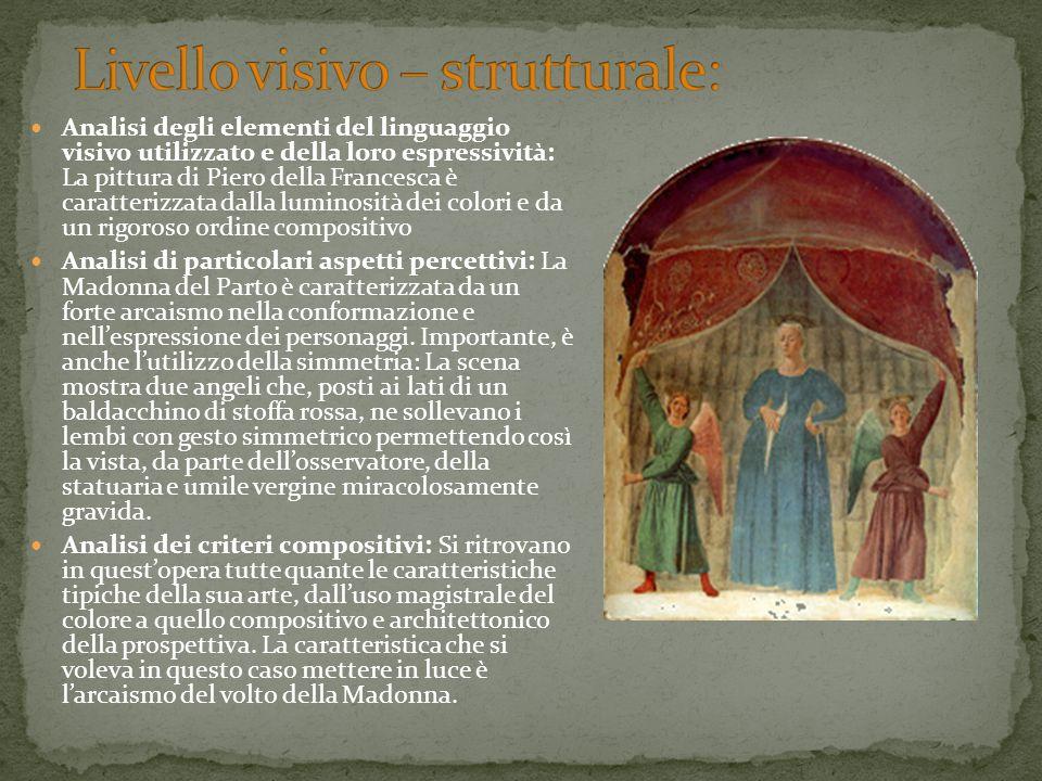 Analisi degli elementi del linguaggio visivo utilizzato e della loro espressività: La pittura di Piero della Francesca è caratterizzata dalla luminosi