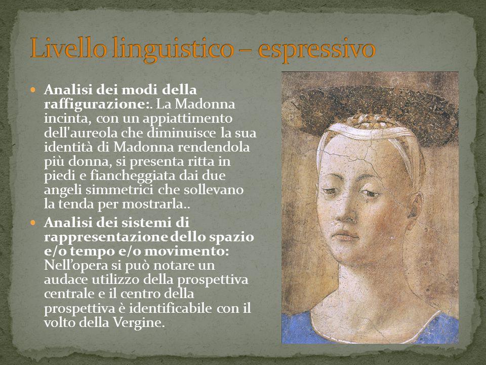 Analisi dei modi della raffigurazione:. La Madonna incinta, con un appiattimento dell'aureola che diminuisce la sua identità di Madonna rendendola più