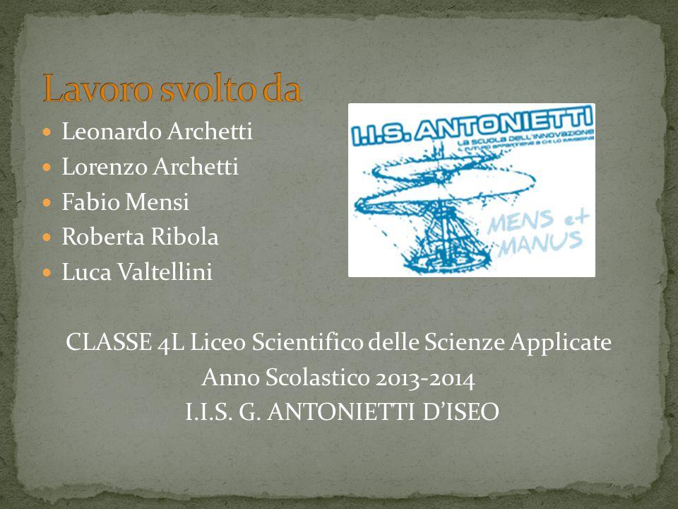 Leonardo Archetti Lorenzo Archetti Fabio Mensi Roberta Ribola Luca Valtellini CLASSE 4L Liceo Scientifico delle Scienze Applicate Anno Scolastico 2013