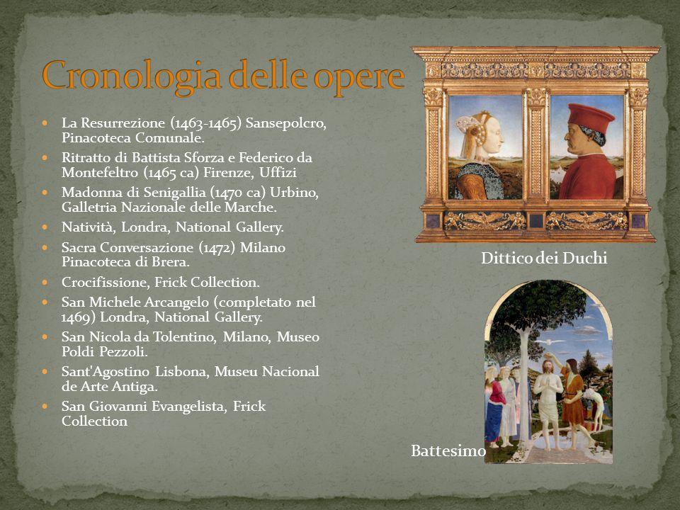 La Resurrezione (1463-1465) Sansepolcro, Pinacoteca Comunale. Ritratto di Battista Sforza e Federico da Montefeltro (1465 ca) Firenze, Uffizi Madonna
