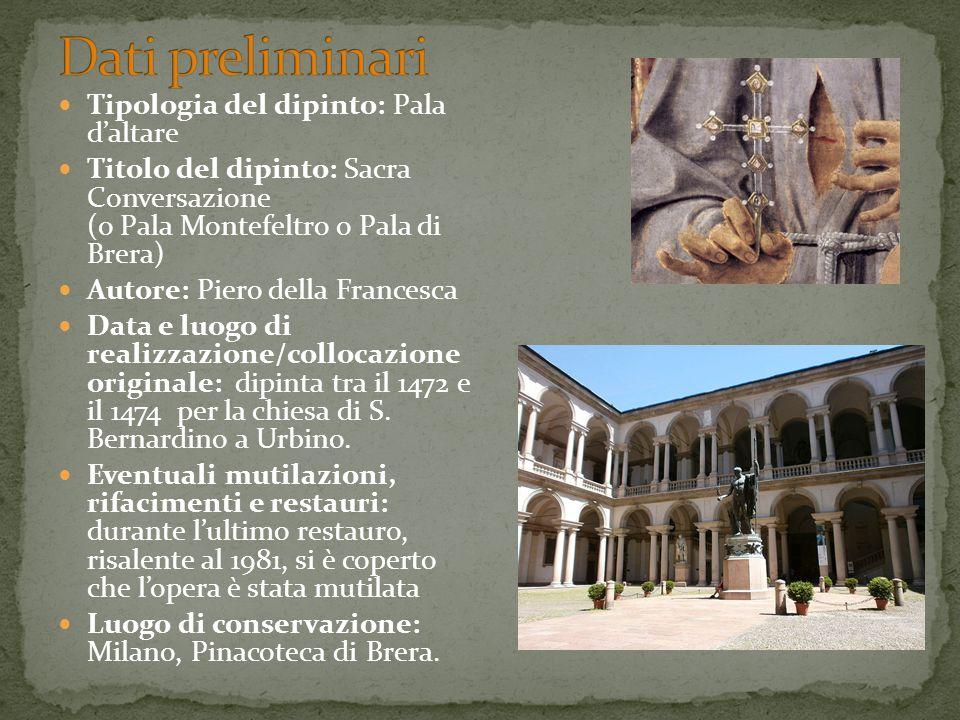 Tipologia del dipinto: Pala d'altare Titolo del dipinto: Sacra Conversazione (o Pala Montefeltro o Pala di Brera) Autore: Piero della Francesca Data e