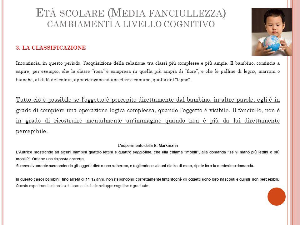 E TÀ SCOLARE (M EDIA FANCIULLEZZA ) CAMBIAMENTI A LIVELLO COGNITIVO 3.