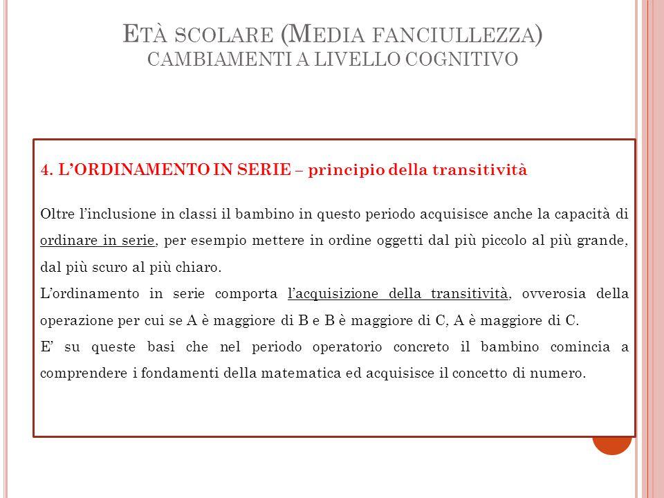 E TÀ SCOLARE (M EDIA FANCIULLEZZA ) CAMBIAMENTI A LIVELLO COGNITIVO 4.