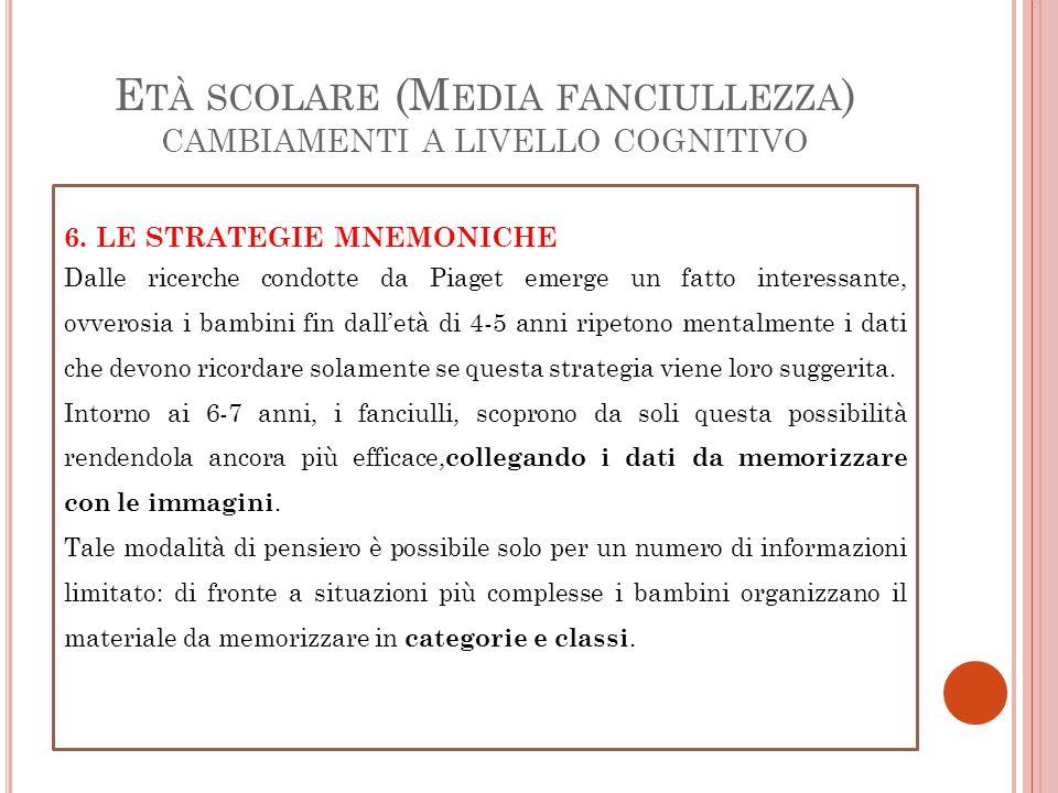 E TÀ SCOLARE (M EDIA FANCIULLEZZA ) CAMBIAMENTI A LIVELLO COGNITIVO 6. LE STRATEGIE MNEMONICHE Dalle ricerche condotte da Piaget emerge un fatto inter