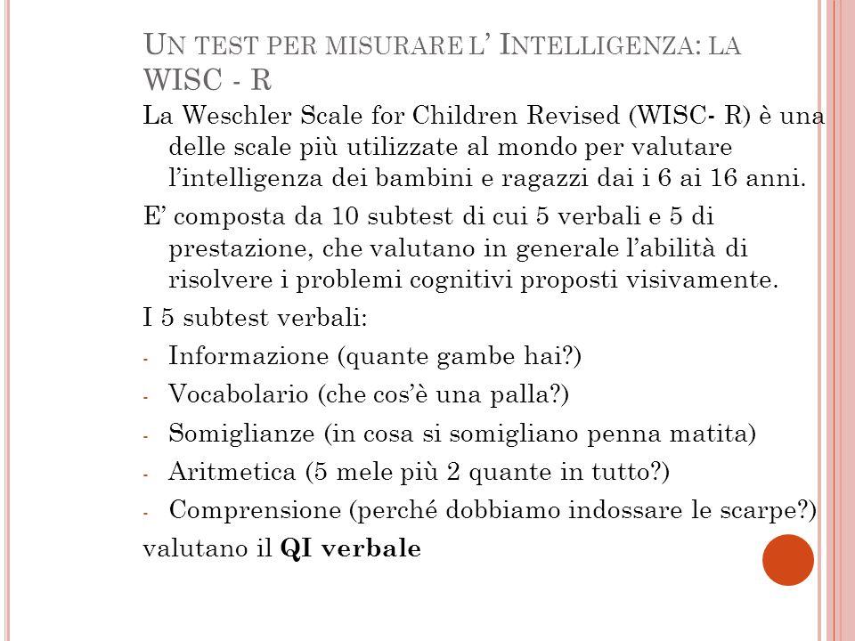 U N TEST PER MISURARE L ' I NTELLIGENZA : LA WISC - R La Weschler Scale for Children Revised (WISC- R) è una delle scale più utilizzate al mondo per valutare l'intelligenza dei bambini e ragazzi dai i 6 ai 16 anni.