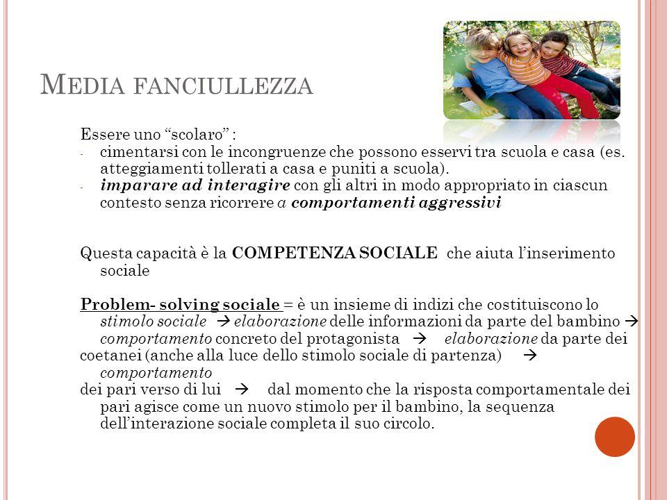 M EDIA FANCIULLEZZA Essere uno scolaro : - cimentarsi con le incongruenze che possono esservi tra scuola e casa (es.