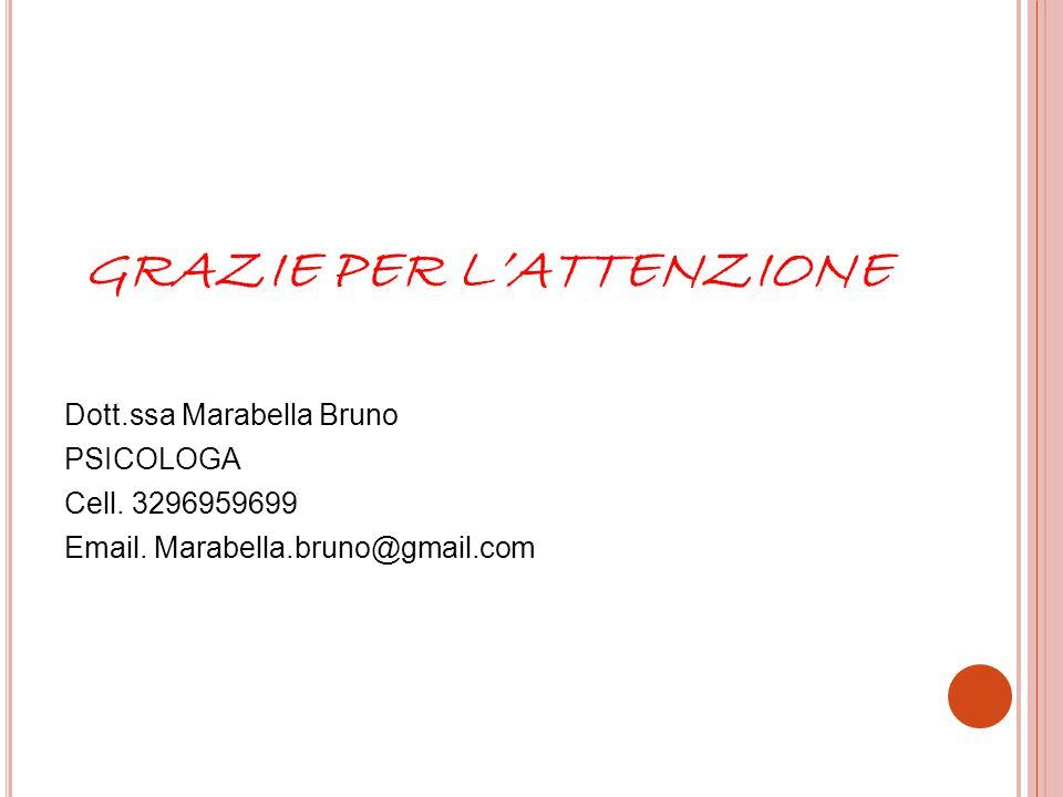 GRAZIE PER L'ATTENZIONE Dott.ssa Marabella Bruno PSICOLOGA Cell. 3296959699 Email. Marabella.bruno@gmail.com