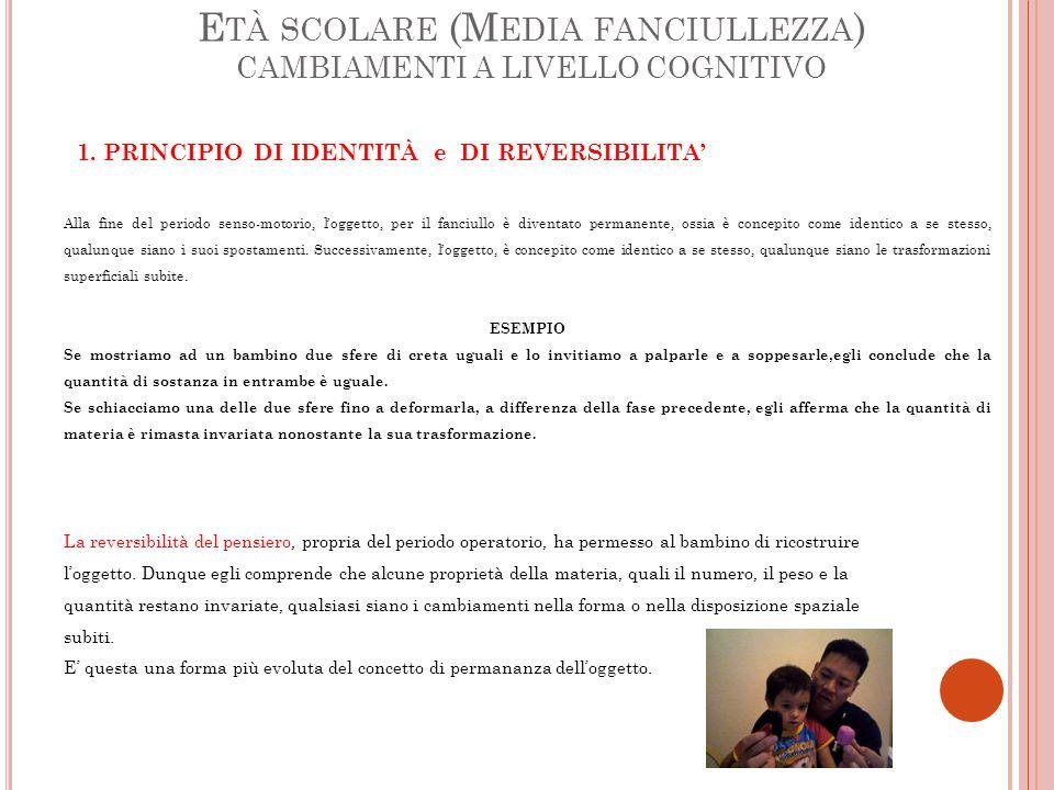 E TÀ SCOLARE (M EDIA FANCIULLEZZA ) CAMBIAMENTI A LIVELLO COGNITIVO 1.