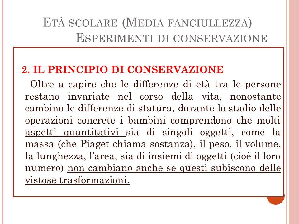 E TÀ SCOLARE (M EDIA FANCIULLEZZA ) E SPERIMENTI DI CONSERVAZIONE 2.