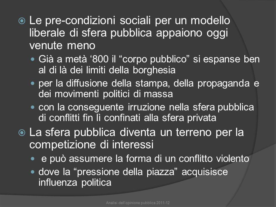 """ Le pre-condizioni sociali per un modello liberale di sfera pubblica appaiono oggi venute meno Già a metà '800 il """"corpo pubblico"""" si espanse ben al"""