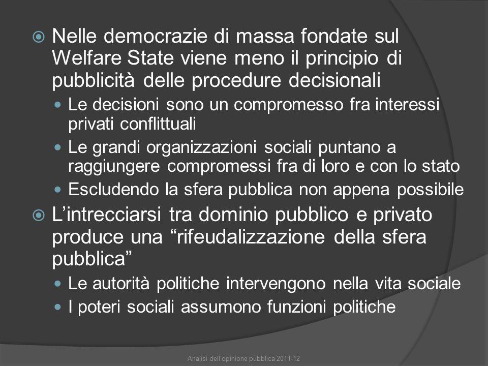  Nelle democrazie di massa fondate sul Welfare State viene meno il principio di pubblicità delle procedure decisionali Le decisioni sono un compromes