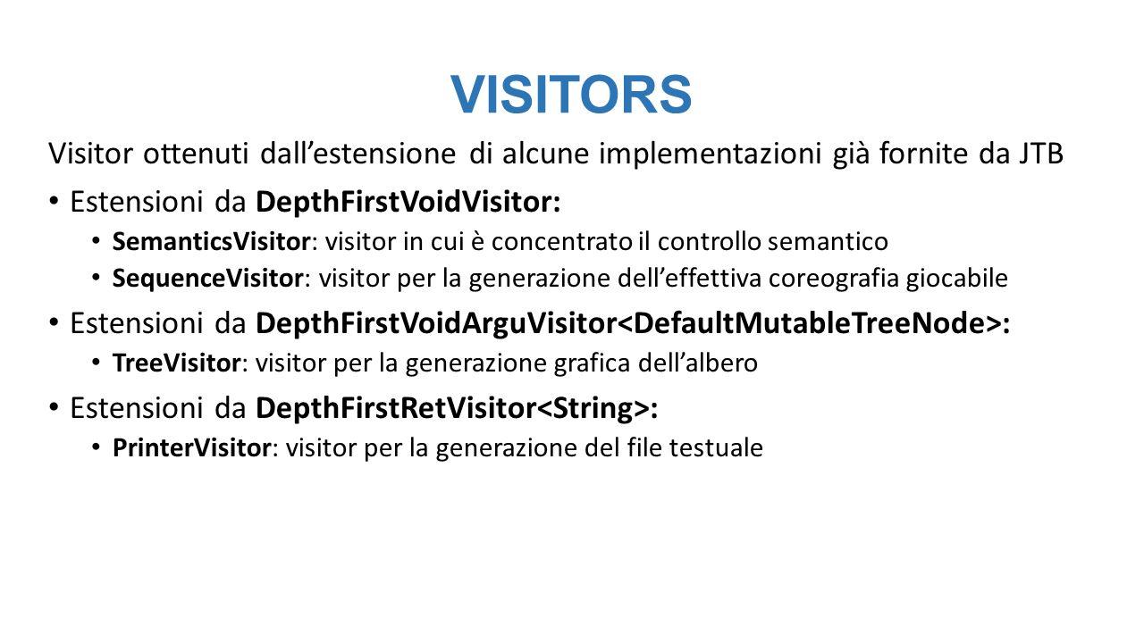 VISITORS Visitor ottenuti dall'estensione di alcune implementazioni già fornite da JTB Estensioni da DepthFirstVoidVisitor: SemanticsVisitor: visitor in cui è concentrato il controllo semantico SequenceVisitor: visitor per la generazione dell'effettiva coreografia giocabile Estensioni da DepthFirstVoidArguVisitor : TreeVisitor: visitor per la generazione grafica dell'albero Estensioni da DepthFirstRetVisitor : PrinterVisitor: visitor per la generazione del file testuale