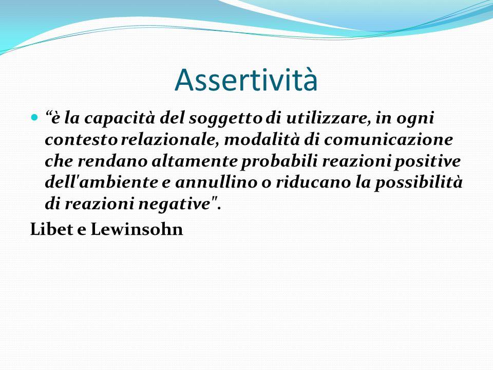 """Assertività """"è la capacità del soggetto di utilizzare, in ogni contesto relazionale, modalità di comunicazione che rendano altamente probabili reazion"""