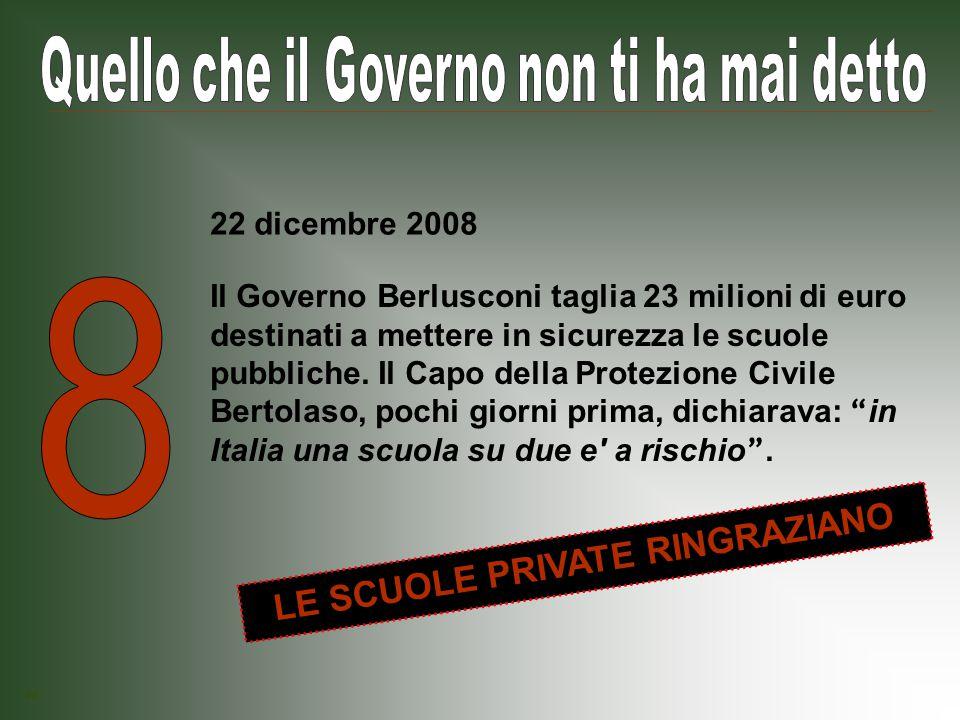 Il Governo Berlusconi stabilisce che nelle gare di appalto per i contratti pubblici il prezzo dell offerta e un elemento del tutto secondario.