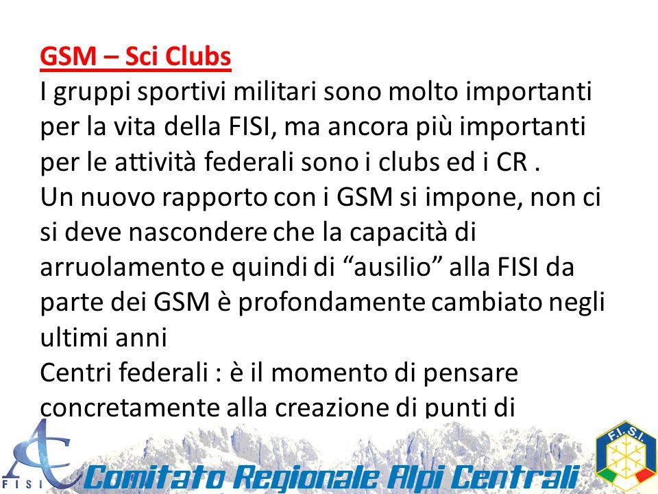 GSM – Sci Clubs I gruppi sportivi militari sono molto importanti per la vita della FISI, ma ancora più importanti per le attività federali sono i clubs ed i CR.