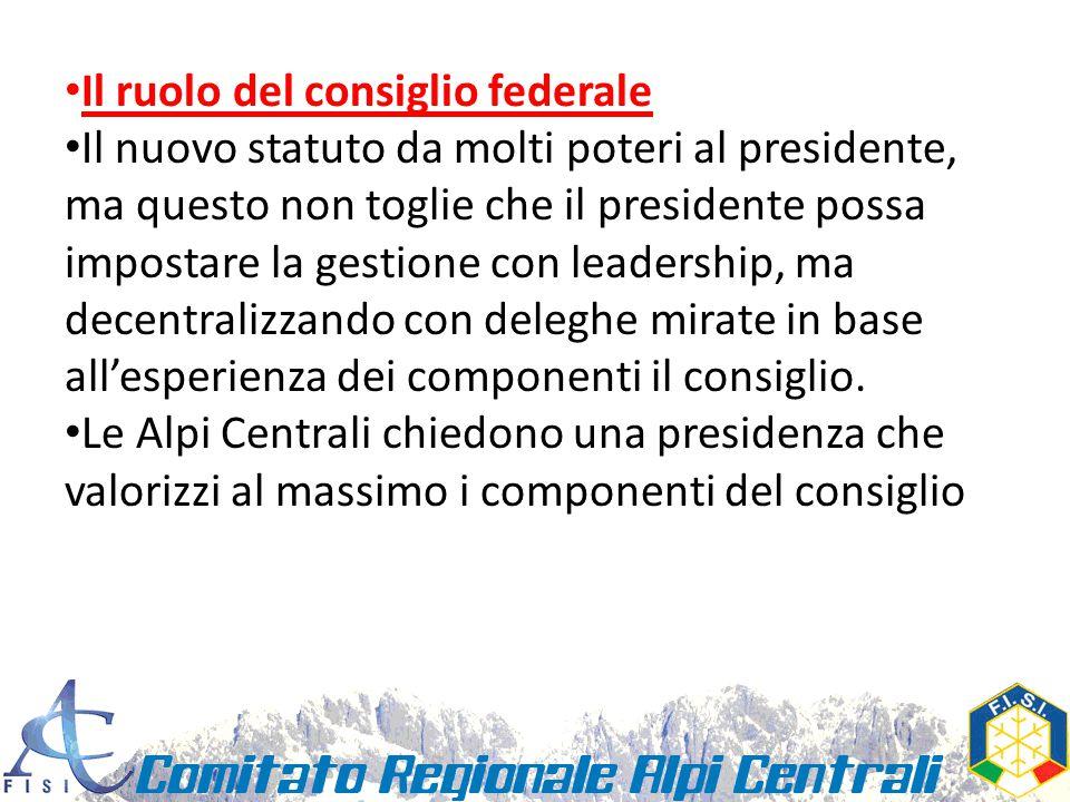Il ruolo del consiglio federale Il nuovo statuto da molti poteri al presidente, ma questo non toglie che il presidente possa impostare la gestione con