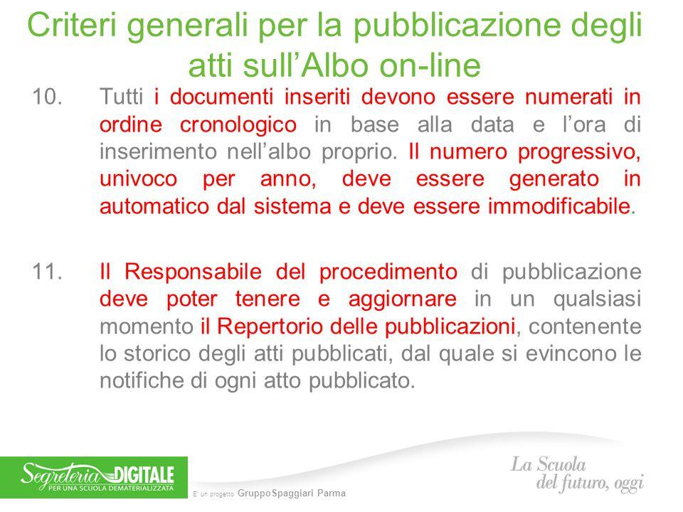 E' un progetto GruppoSpaggiari Parma Criteri generali per la pubblicazione degli atti sull'Albo on-line 10.