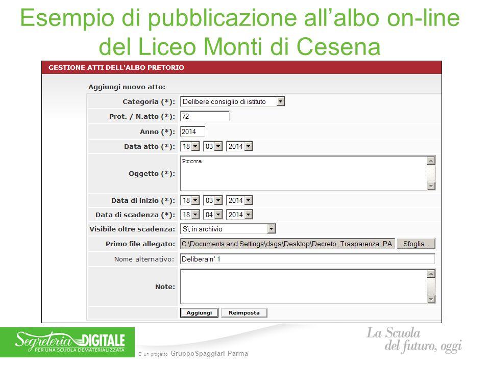 E' un progetto GruppoSpaggiari Parma Esempio di pubblicazione all'albo on-line del Liceo Monti di Cesena