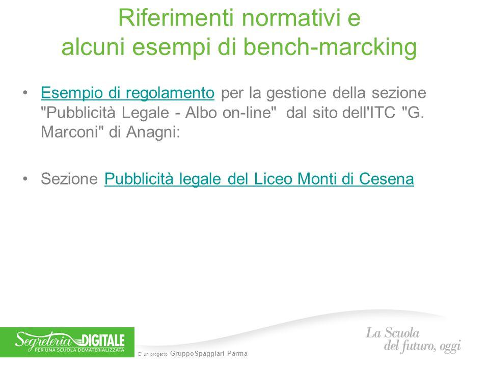 E' un progetto GruppoSpaggiari Parma Riferimenti normativi e alcuni esempi di bench-marcking Esempio di regolamento per la gestione della sezione Pubblicità Legale - Albo on-line dal sito dell ITC G.