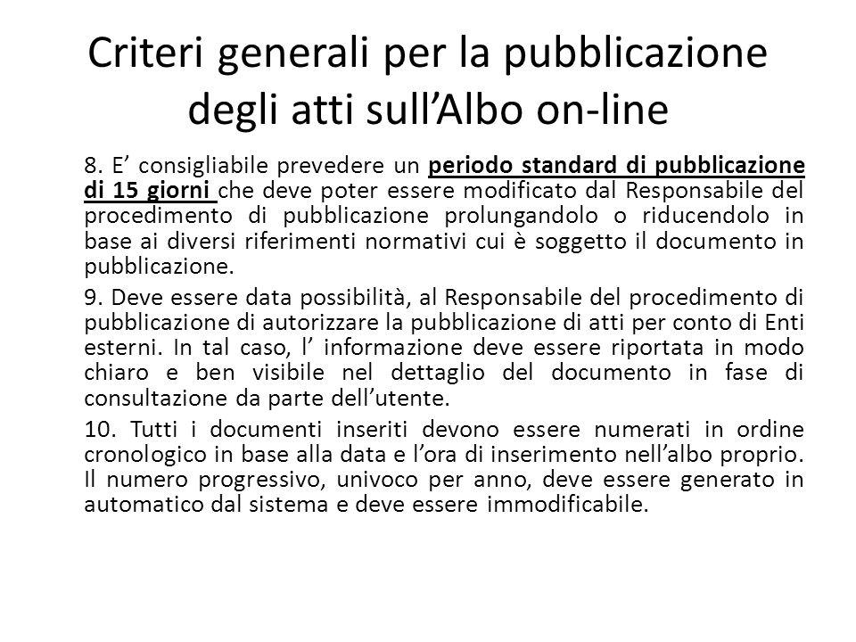 Criteri generali per la pubblicazione degli atti sull'Albo on-line 8. E' consigliabile prevedere un periodo standard di pubblicazione di 15 giorni che