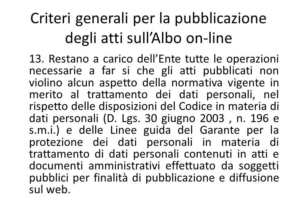 Criteri generali per la pubblicazione degli atti sull'Albo on-line 13. Restano a carico dell'Ente tutte le operazioni necessarie a far si che gli atti