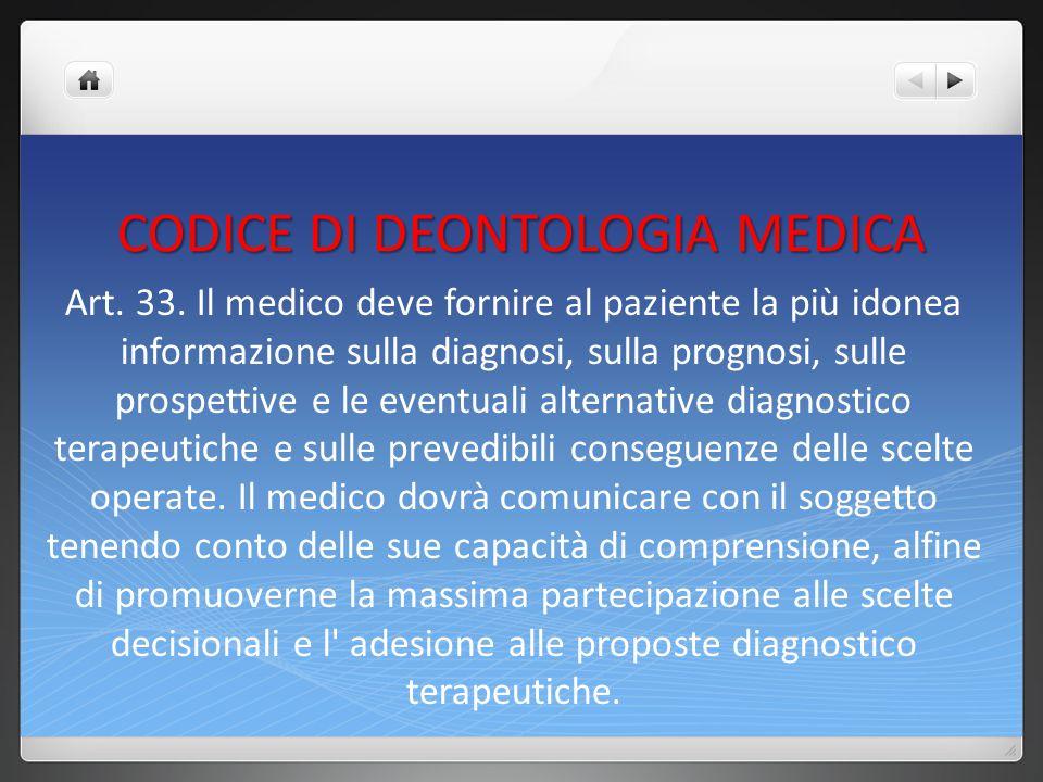 CODICE DI DEONTOLOGIA MEDICA Ogni ulteriore richiesta di informazione da parte del paziente deve essere soddisfatta.