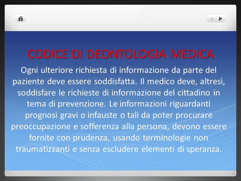 CODICE DI DEONTOLOGIA MEDICA La documentata volontà della persona assistita di non essere informata o di delegare ad altro soggetto all informazione deve essere rispettata.
