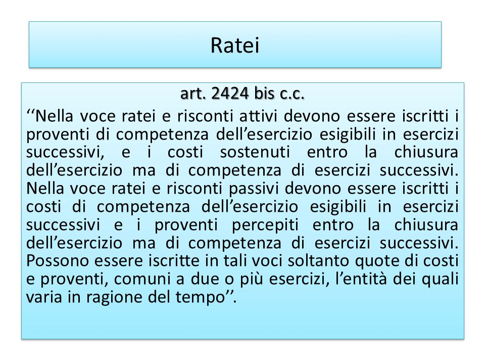 Ratei art.2424 bis c.c.