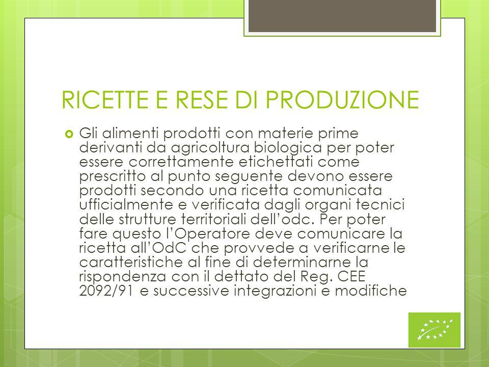 RICETTE E RESE DI PRODUZIONE  Gli alimenti prodotti con materie prime derivanti da agricoltura biologica per poter essere correttamente etichettati c