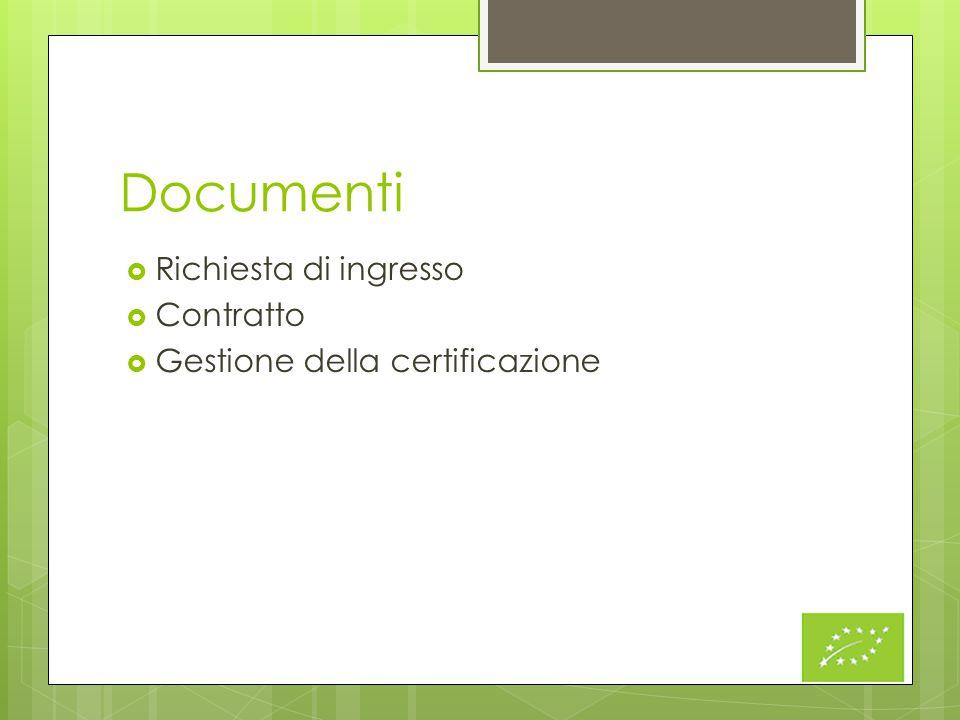 Documenti  Richiesta di ingresso  Contratto  Gestione della certificazione