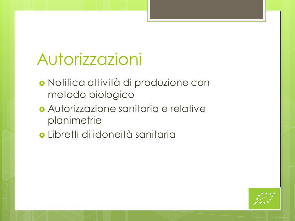 Autorizzazioni  Notifica attività di produzione con metodo biologico  Autorizzazione sanitaria e relative planimetrie  Libretti di idoneità sanitar