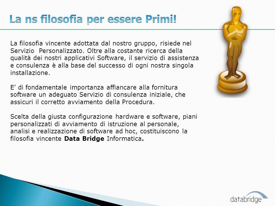 La filosofia vincente adottata dal nostro gruppo, risiede nel Servizio Personalizzato. Oltre alla costante ricerca della qualità dei nostri applicativ