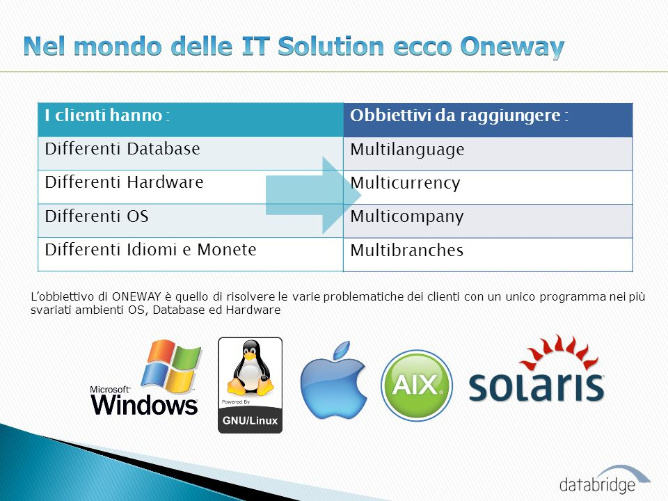 Oneway la strada giusta: Cross platform system Data Base Indipendent Native Support i18n Low Developing time Low T.C.O.