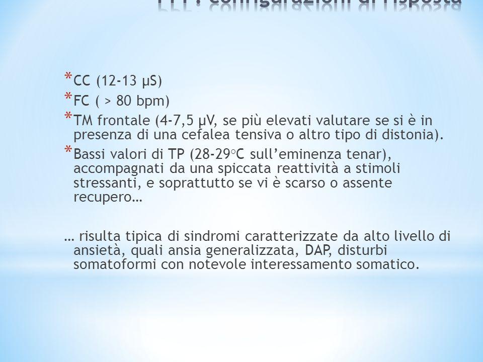 * CC (12-13 µS) * FC ( > 80 bpm) * TM frontale (4-7,5 µV, se più elevati valutare se si è in presenza di una cefalea tensiva o altro tipo di distonia).