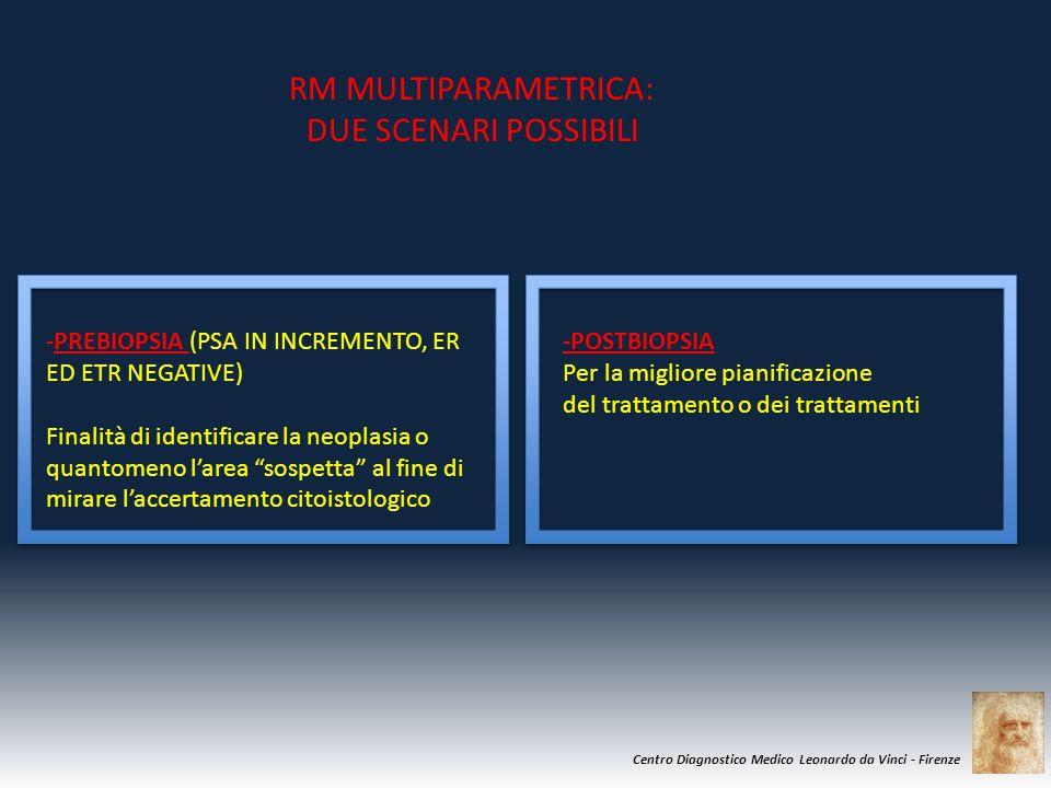 Centro Diagnostico Medico Leonardo da Vinci - Firenze RM MULTIPARAMETRICA: DUE SCENARI POSSIBILI -PREBIOPSIA (PSA IN INCREMENTO, ER ED ETR NEGATIVE) F