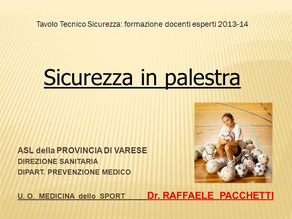 ASL della PROVINCIA DI VARESE DIREZIONE SANITARIA DIPART. PREVENZIONE MEDICO U. O. MEDICINA dello SPORT Dr. RAFFAELE PACCHETTI Tavolo Tecnico Sicurezz