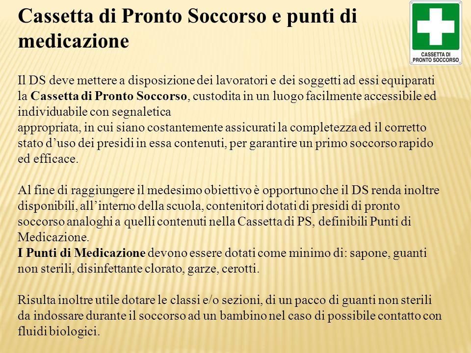 Cassetta di Pronto Soccorso e punti di medicazione Il DS deve mettere a disposizione dei lavoratori e dei soggetti ad essi equiparati la Cassetta di P
